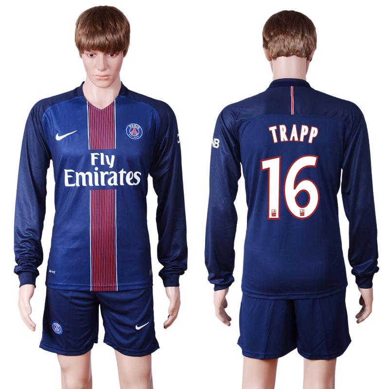 2016-17 Paris Saint-Germain 16 TRAPP Home Long Sleeve Soccer Jersey