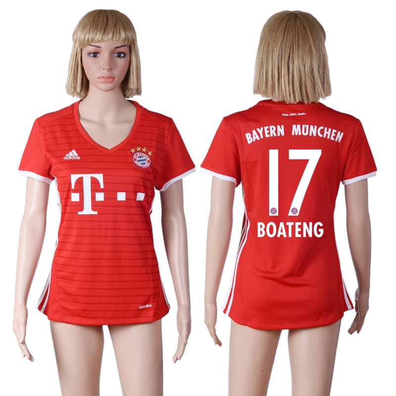2016-17 Bayern Munich 17 BOATENG Home Women Soccer Jersey