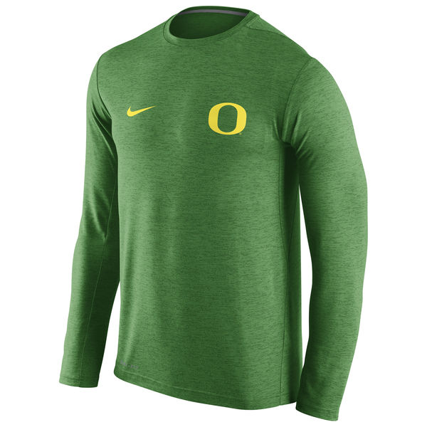 Oregon Ducks Nike Stadium Dri-Fit Touch Long Sleeve T-Shirt Heather Green