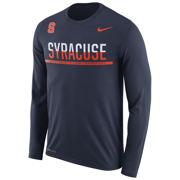 Syracuse Orange Nike 2016 Staff Sideline Dri-Fit Legend Long Sleeve T-Shirt Navy