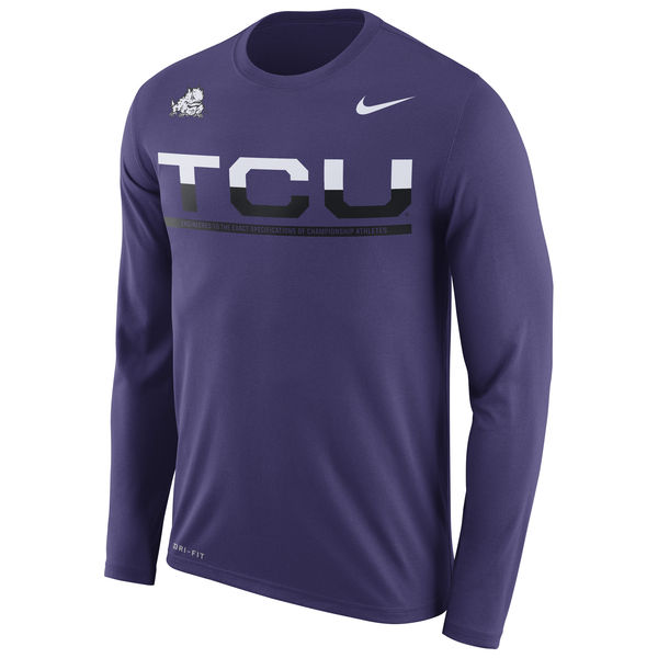 TCU Horned Frogs Nike 2016 Staff Sideline Dri-Fit Legend Long Sleeve T-Shirt Purple