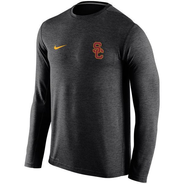 USC Trojans Nike Stadium Dri-Fit Touch Long Sleeve T-Shirt Black