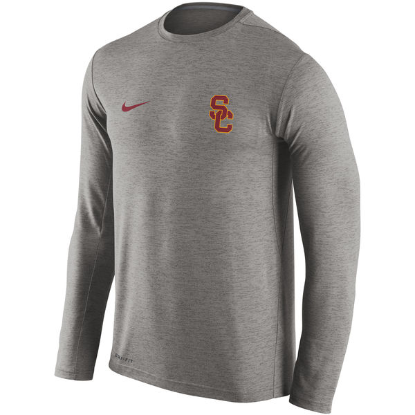 USC Trojans Nike Stadium Dri-Fit Touch Long Sleeve T-Shirt Grey