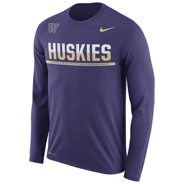 Washington Huskies Nike 2016 Staff Sideline Dri-Fit Legend Long Sleeve T-Shirt Purple