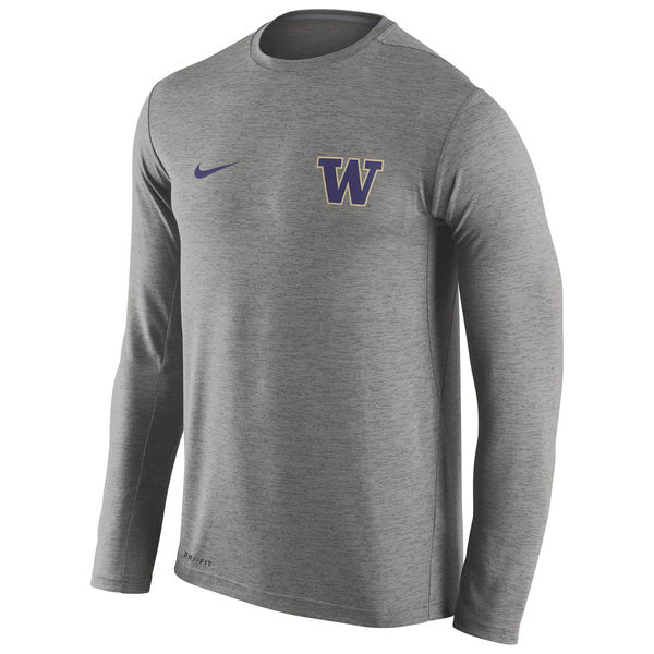 Washington Huskies Nike Stadium Dri-Fit Touch Long Sleeve T-Shirt Grey