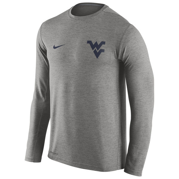 West Virginia Mountaineers Nike Stadium Dri-Fit Touch Long Sleeve T-Shirt Heather Grey