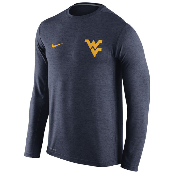 West Virginia Mountaineers Nike Stadium Dri-Fit Touch Long Sleeve T-Shirt Heather Navy