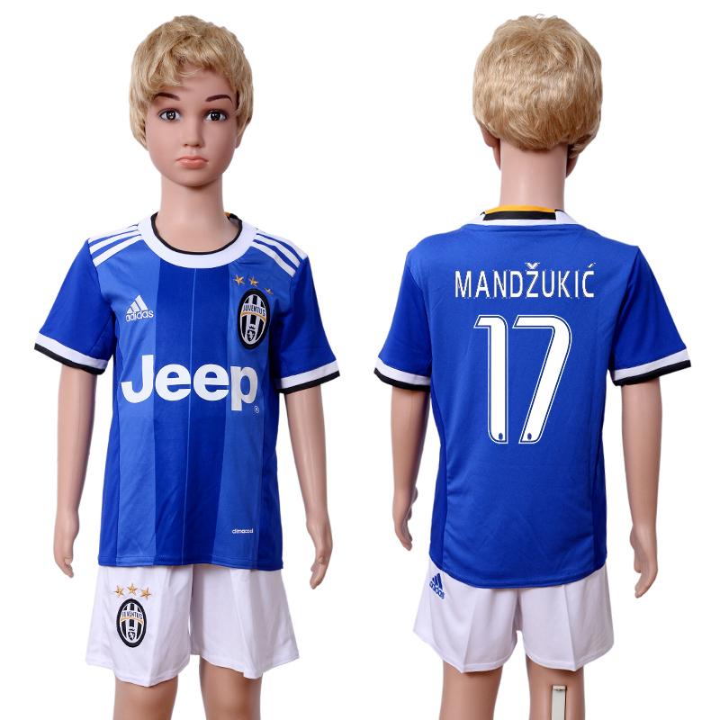 2016-17 Juventus 17 MANDZUKIC Away Youth Soccer Jersey