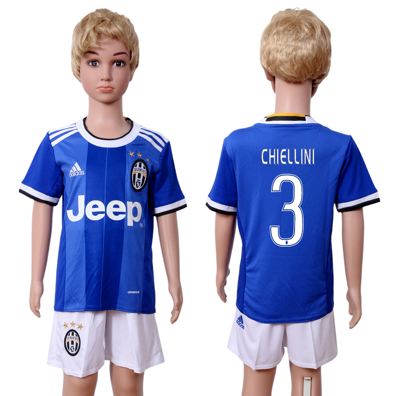 2016-17 Juventus 3 CHIELLINI Away Youth Soccer Jersey