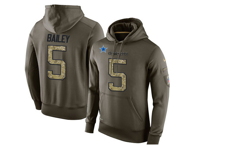 Nike Cowboys 5 Dan Bailey Olive Green Salute To Service Pullover Hoodie