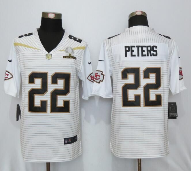 Nike Chiefs 22 Marcus Peters White 2016 Pro Bowl Elite Jersey