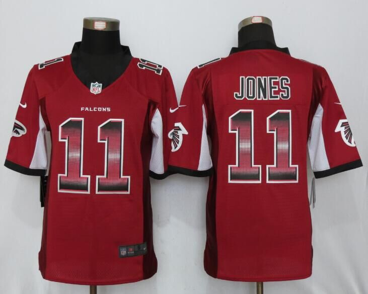 Nike Falcons 11 Julio Jones Red Pro Line Fashion Strobe Jersey