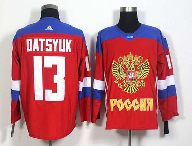 Russia 13 Pavel Datsyuk Red World Cup of Hockey 2016 Premier Player Jersey