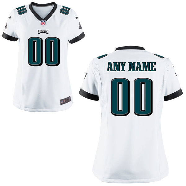 Nike Philadelphia Eagles White Women Game Customized Jersey