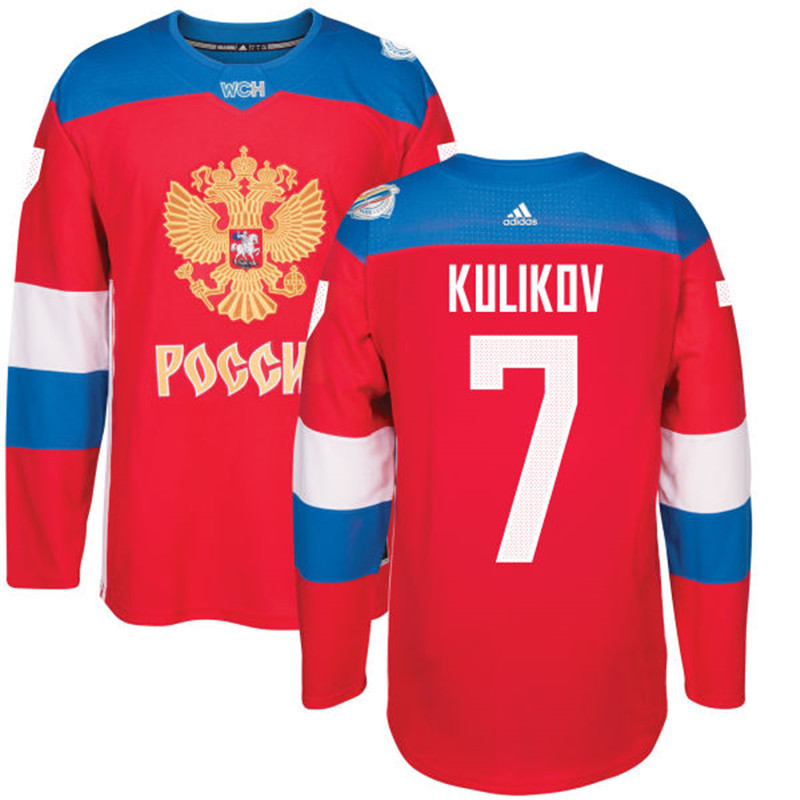 Russia 7 Dmitri Kulikov Red 2016 World Cup Of Hockey Premier Player Jersey