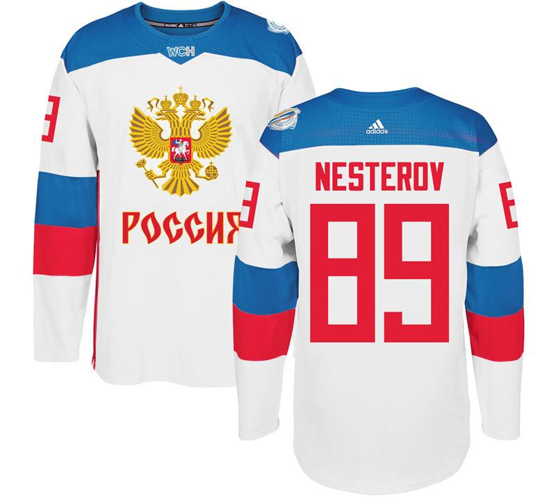 Russia 89 Nikita Nesterov White 2016 World Cup Of Hockey Premier Player Jersey