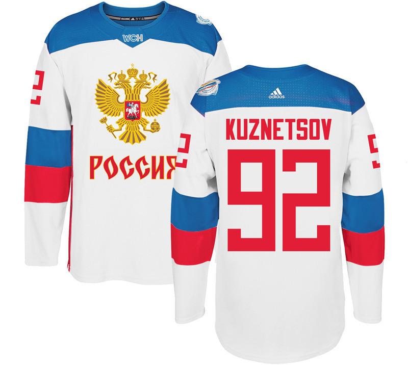Russia 92 Evgeny Kuznetsov White 2016 World Cup Of Hockey Premier Player Jersey