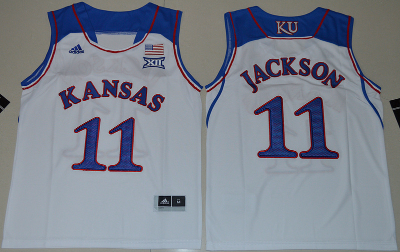 Kansas Jayhawks 11 Josh Jackson White Youth College Jersey