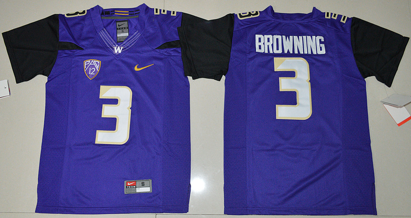 Washington Huskies 3 Jake Browning Purple Youth College Jersey