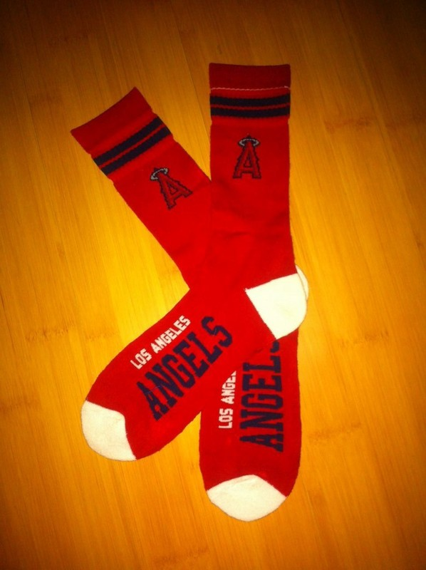 Angels Team Logo Red Blue MLB Socks