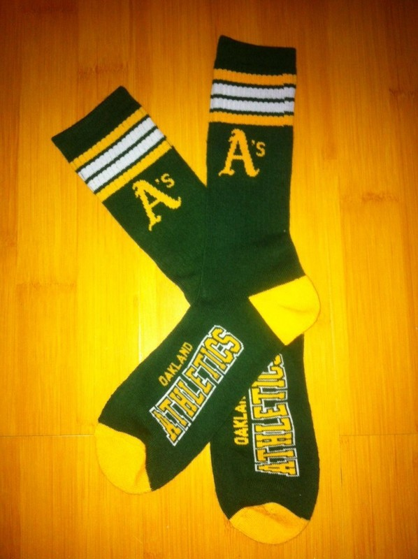 Athletics Team Logo Green Blue MLB Socks