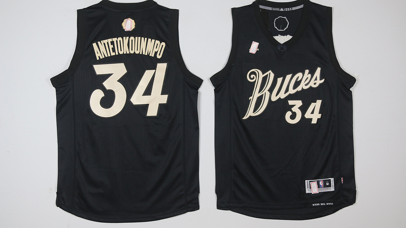 Bucks 34 Giannis Antetokounmpo Black 2016 Christmas Day Swingman Jersey