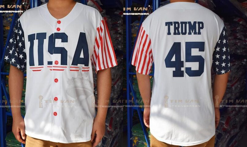 USA 45 Donald Trump White 2016 Commemorative Edition Baseball Jersey