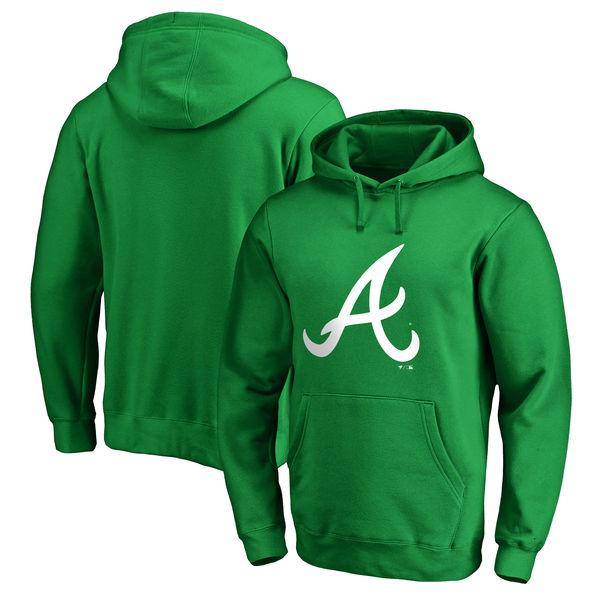 Men's Atlanta Braves Fanatics Branded Kelly Green St. Patrick's Day White Logo Pullover Hoodie