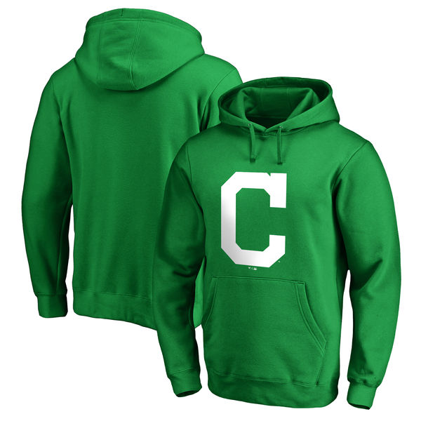 Men's Cleveland Indians Fanatics Branded Kelly Green St. Patrick's Day White Logo Pullover Hoodie