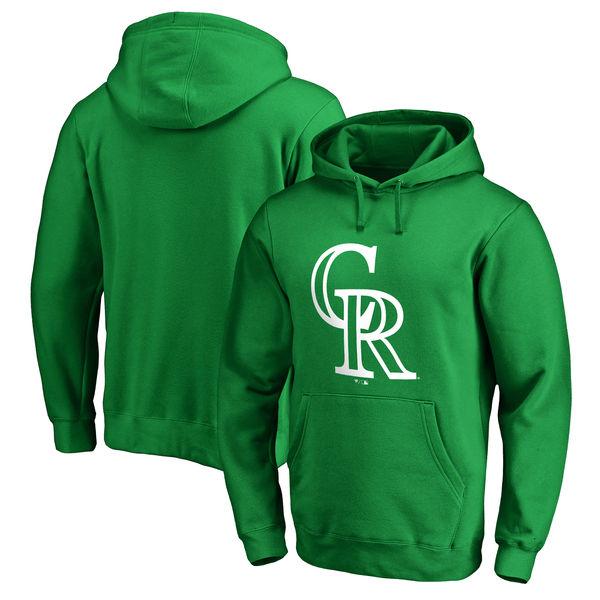 Men's Colorado Rockies Fanatics Branded Kelly Green St. Patrick's Day White Logo Pullover Hoodie