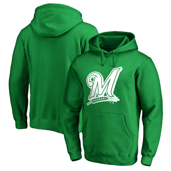 Men's Milwaukee Brewers Fanatics Branded Kelly Green St. Patrick's Day White Logo Pullover Hoodie