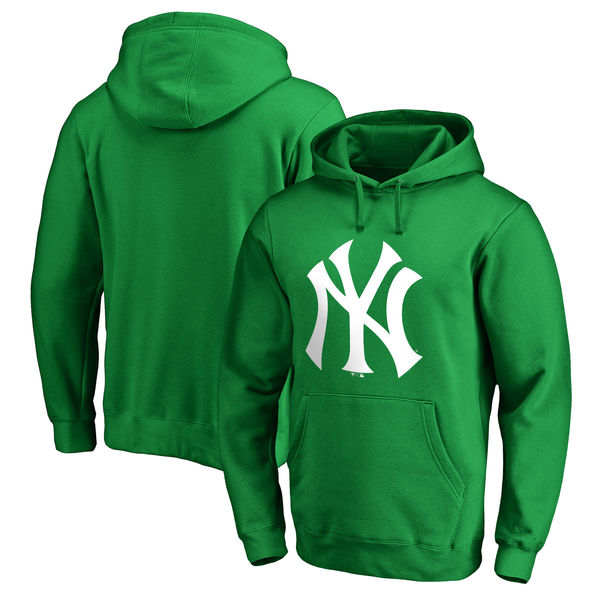 Men's New York Yankees Fanatics Branded Kelly Green St. Patrick's Day White Logo Pullover Hoodie