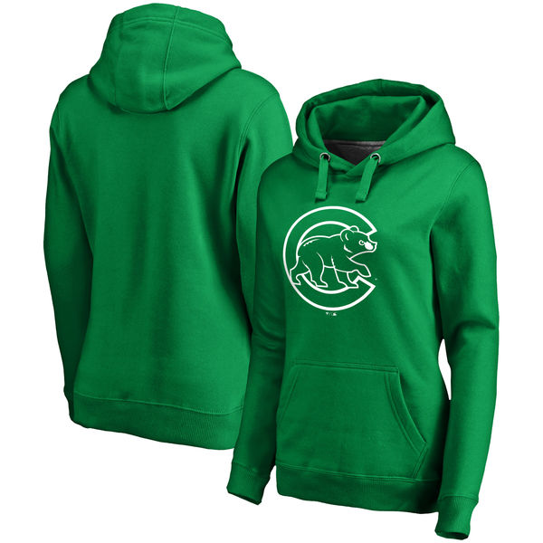 Women's Chicago Cubs Fanatics Branded Green St. Patrick's Day White Logo Pullover Hoodie