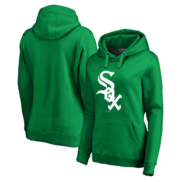 Women's Chicago White Sox Fanatics Branded Kelly Green St. Patrick's Day White Logo Pullover Hoodie