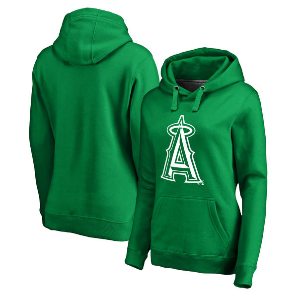 Women's Los Angeles Angels of Anaheim Fanatics Branded Kelly Green St. Patrick's Day White Logo Pullover Hoodie