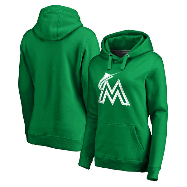 Women's Miami Marlins Fanatics Branded Kelly Green St. Patrick's Day White Logo Pullover Hoodie