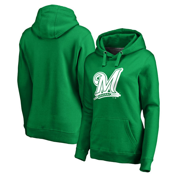 Women's Milwaukee Brewers Fanatics Branded Kelly Green St. Patrick's Day White Logo Pullover Hoodie