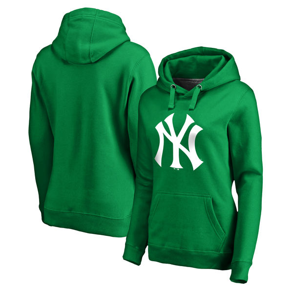 Women's New York Yankees Fanatics Branded Kelly Green St. Patrick's Day White Logo Pullover Hoodie