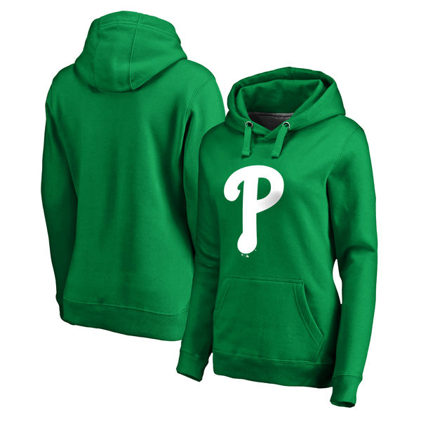 Women's Philadelphia Phillies Fanatics Branded Kelly Green St. Patrick's Day White Logo Pullover Hoodie