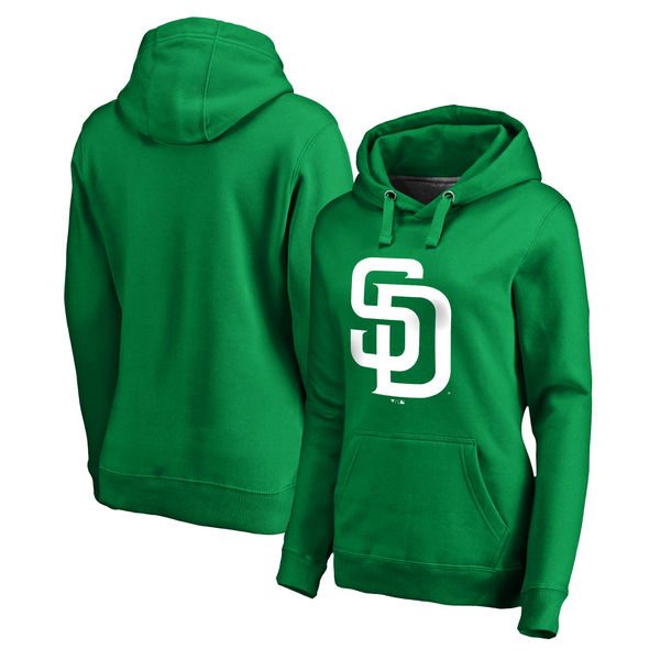 Women's San Diego Padres Fanatics Branded Kelly Green St. Patrick's Day White Logo Pullover Hoodie