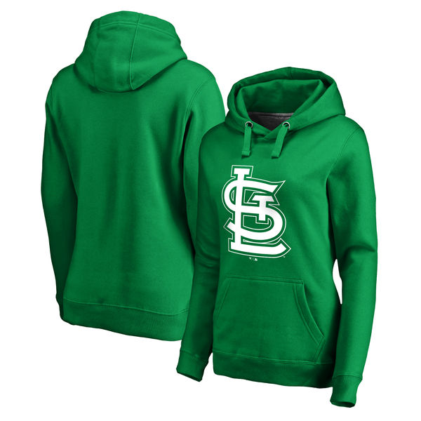 Women's St. Louis Cardinals Fanatics Branded Kelly Green St. Patrick's Day White Logo Pullover Hoodie
