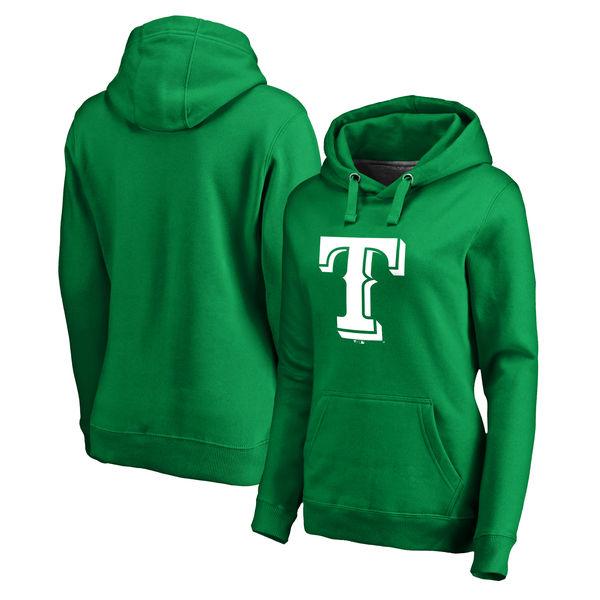 Women's Texas Rangers Fanatics Branded Kelly Green St. Patrick's Day White Logo Pullover Hoodie