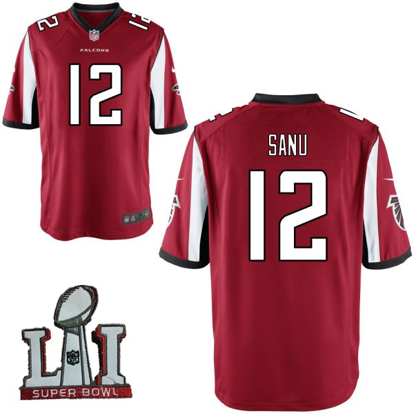 Nike Falcons 12 Mohamed Sanu Red Youth 2017 Super Bowl LI Game Jersey