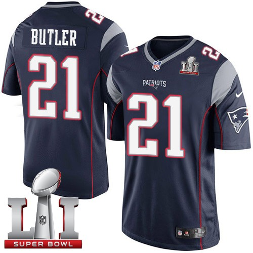 Nike Patriots 21 Malcolm Butler Navy Youth 2017 Super Bowl LI Game Jersey