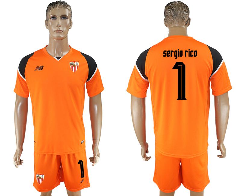 2016-17 Sevilla 1 SERGIO RICO Orange Goalkeeper Soccer Jersey