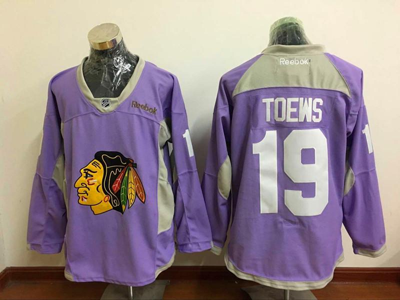 Blackhawks 19 Jonathan Toews Purple Hockey Fights Cancer Reebok Jersey