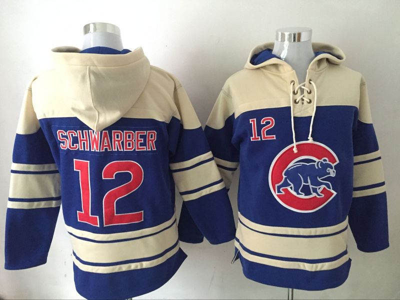 Cubs 12 Kyle Schwarber Blue All Stitched Hooded Sweatshirt