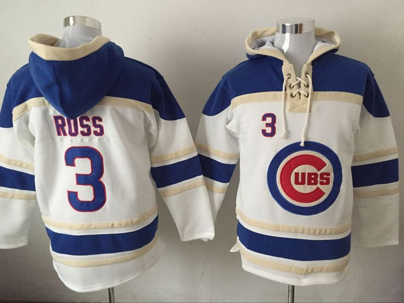 Cubs 3 David Ross White All Stitched Hooded Sweatshirt