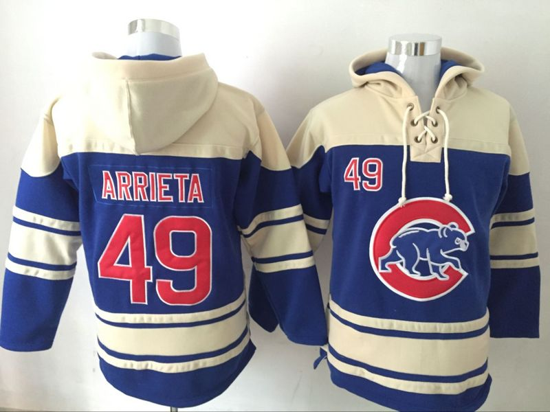 Cubs 49 Jake Arrieta Blue All Stitched Hooded Sweatshirt