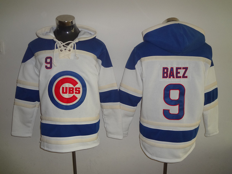 Cubs 9 Javier Baez White All Stitched Hooded Sweatshirt